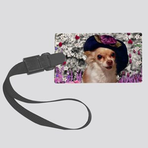 Chi Chi the Chihuahua in Flowers Large Luggage Tag