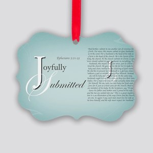 Joyfully Submitted logo and verse Picture Ornament