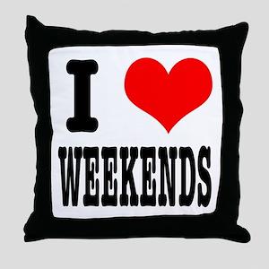 I Heart (Love) Weekends Throw Pillow