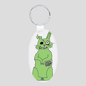 Zombie Bunni Aluminum Oval Keychain