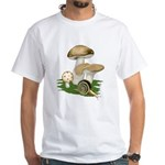 Snail in Mushroom Garden White T-Shirt