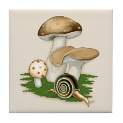 Snail in Mushroom Garden Tile Coaster