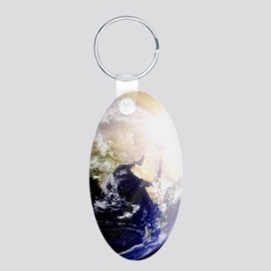 Outerspace Earth Sunset Aluminum Oval Keychain