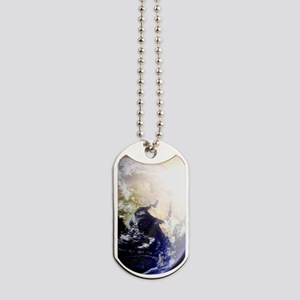 Outerspace Earth Sunset Dog Tags