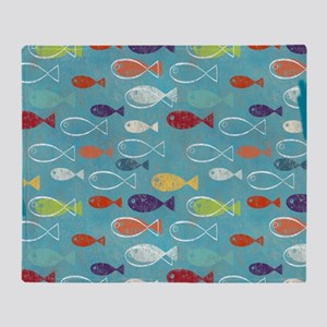 Cute Summer Beach Fish Throw Blanket