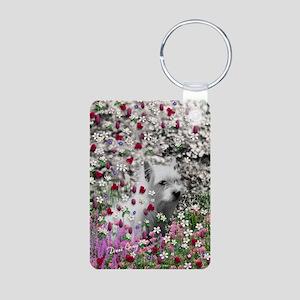 Violet the White Westie in Aluminum Photo Keychain
