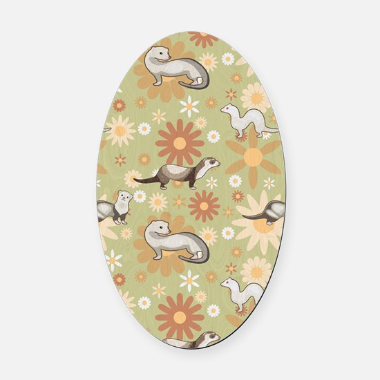 Ferrets and Flowers Oval Car Magnet