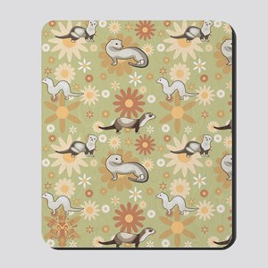 Ferrets and Flowers Mousepad