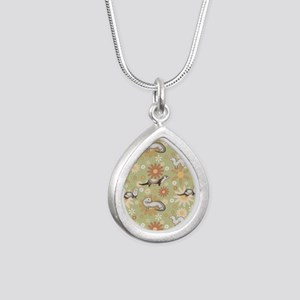 Ferrets and Flowers Silver Teardrop Necklace