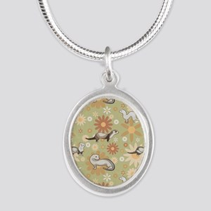 Ferrets and Flowers Silver Oval Necklace