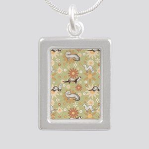 Ferrets and Flowers Silver Portrait Necklace