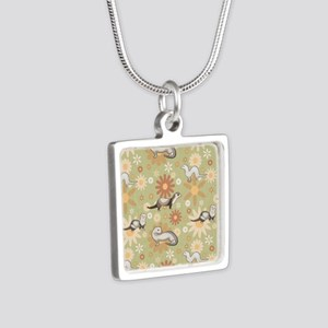 Ferrets and Flowers Silver Square Necklace