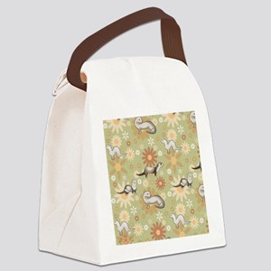 Ferrets and Flowers Canvas Lunch Bag