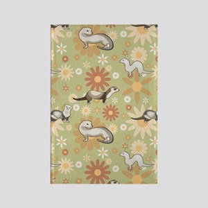 Ferrets and Flowers Rectangle Magnet