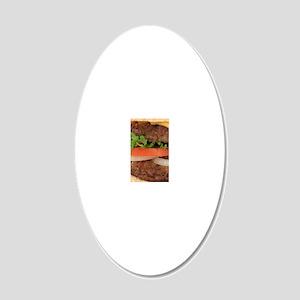 Big Juicy Hamburger 20x12 Oval Wall Decal