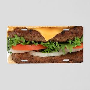 Big Juicy Hamburger Aluminum License Plate