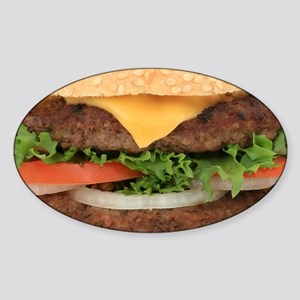 Funny Hamburger Sticker (Oval)