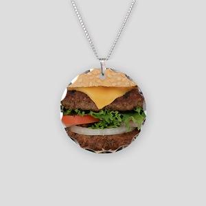 Funny Hamburger Necklace Circle Charm