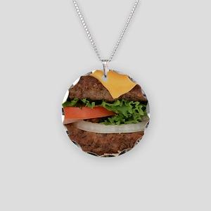 Big Juicy Hamburger Necklace Circle Charm