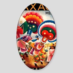 Antique Oaxaca Dancers Mexican Trav Sticker (Oval)