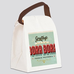 Vintage Touristic Greeting Card - Canvas Lunch Bag