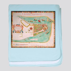 Historical Map of New York City (1664 baby blanket