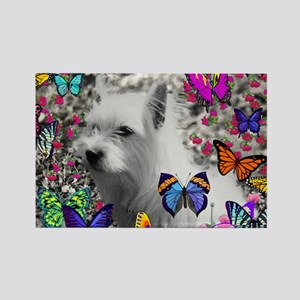 Violet the White Westie in Butter Rectangle Magnet