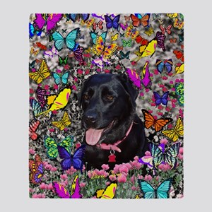 Abby the Black Lab in Butterflies Throw Blanket
