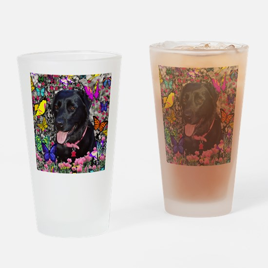 Abby the Black Lab in Butterflies Drinking Glass