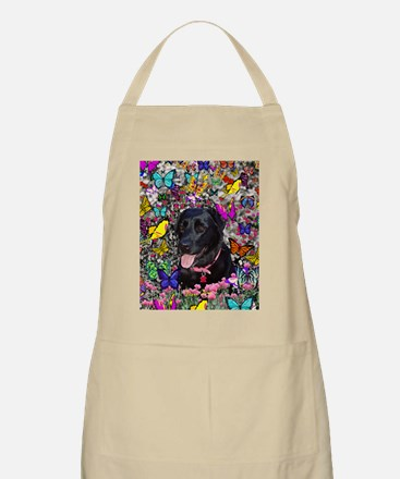 Abby the Black Lab in Butterflies Apron