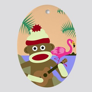 Sock Monkey Ukulele & Flamingo Ornament