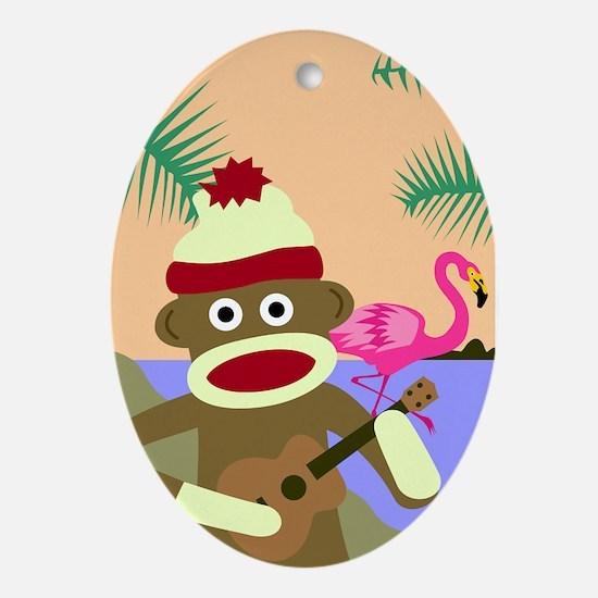 Sock Monkey Ukulele & Flamingo Ornament