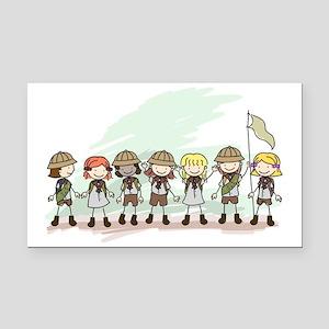 Illustration of Girl Scouts i Rectangle Car Magnet