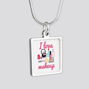 I love makeup Silver Square Necklace