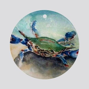 The Blue Crab Round Ornament