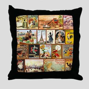 Vintage Chocolate Advertisements Throw Pillow