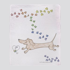Doxie Rainbow Love Throw Blanket