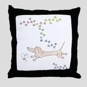 Doxie Rainbow Love Throw Pillow