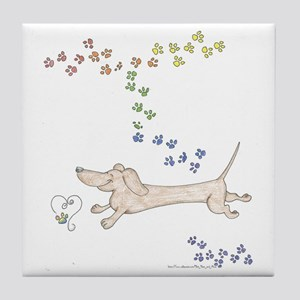 Doxie Rainbow Love Tile Coaster