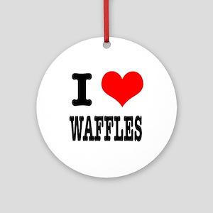 I Heart (Love) Waffles Ornament (Round)