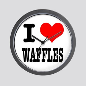 I Heart (Love) Waffles Wall Clock