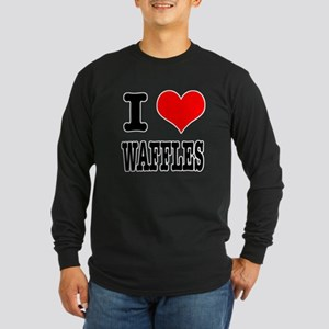 I Heart (Love) Waffles Long Sleeve Dark T-Shirt