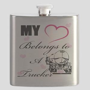 My Heart Belongs To A Trucker Flask
