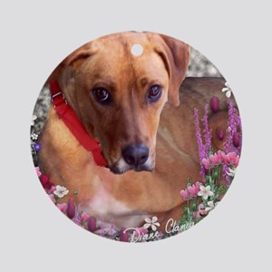 Trista the Rescue Dog in Flowers Round Ornament
