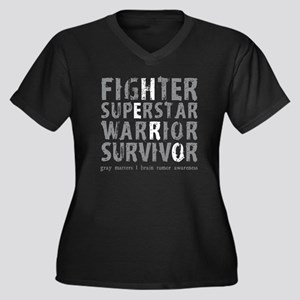 Hero Brain T Women's Plus Size Dark V-Neck T-Shirt