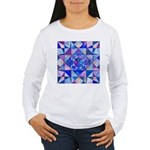 Blue Quilt Watercolor Women's Long Sleeve T-Shirt