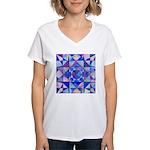 Blue Quilt Watercolor Women's V-Neck T-Shirt