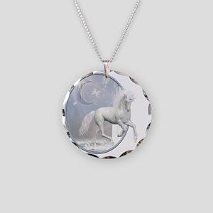 White Unicorn 2 Necklace Circle Charm