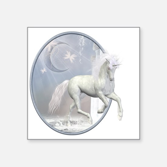 "White Unicorn 2 Square Sticker 3"" x 3"""
