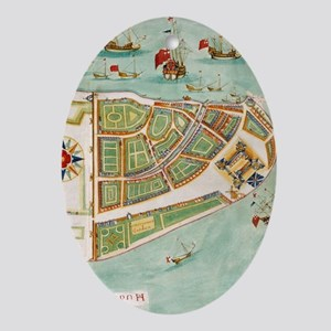 Historical Map of New York City (166 Oval Ornament
